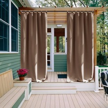 Outdoor Curtain Panel for Patio - NICETOWN Tab Top Thermal Insulated Blackout Outdoor Curtain / Drape for Patio / Front Porch