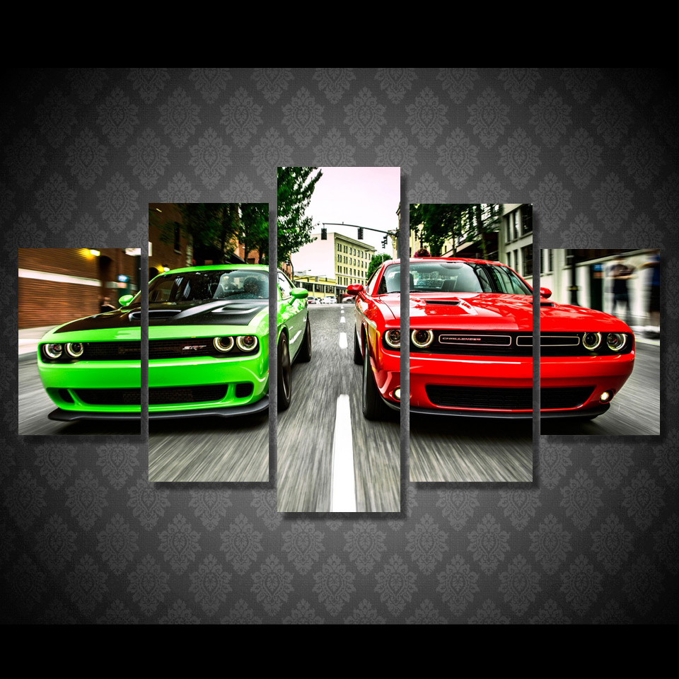 5 Pieces/set The Challenger Green Red Cars Modern Home Wall Decor Canvas Picture Art HD Print Painting On Canvas Picture(China)