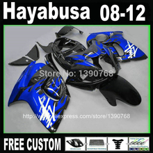 MOTOMARTS  - Plastic Injection mold fairing kit for SUZUKI Hayabusa GSX1300R 2008-2014 blue flames in black fairings  GSX 1300R