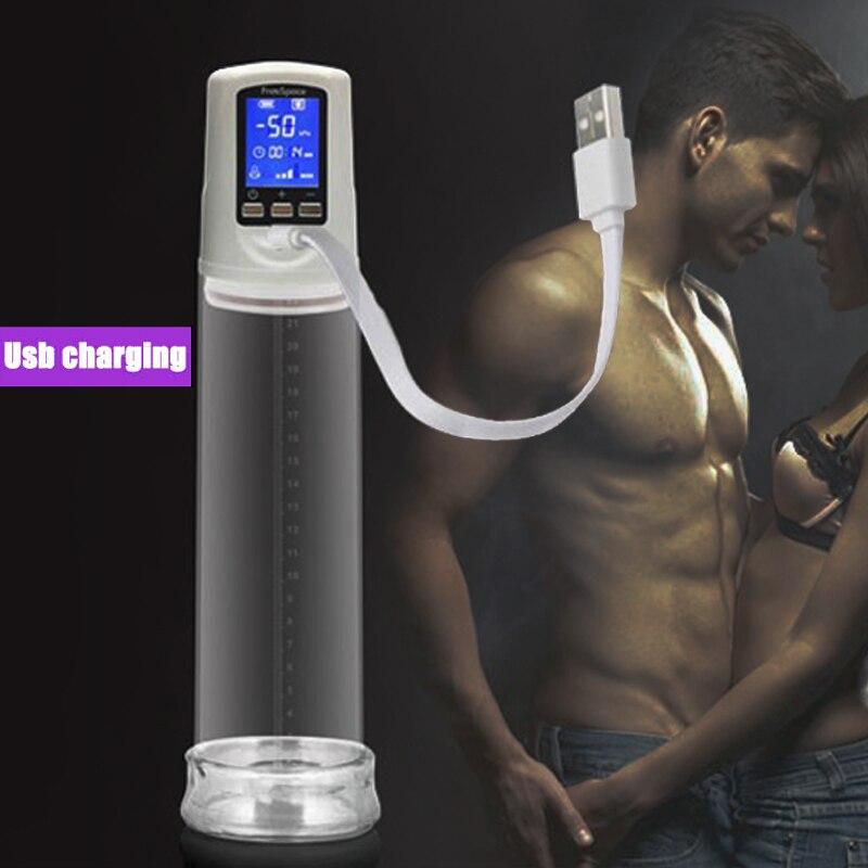Male USB Rechargeable Penis Pump Enlarger, LED Automatic Penis Enlargement Enhancer Vacuum Pump Sex Toys For Men LY007<br>