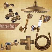 "Wholesale Bathroom Accessories 8"" Brass Shower Head Antique Brass Shower Hose Hand Shower"