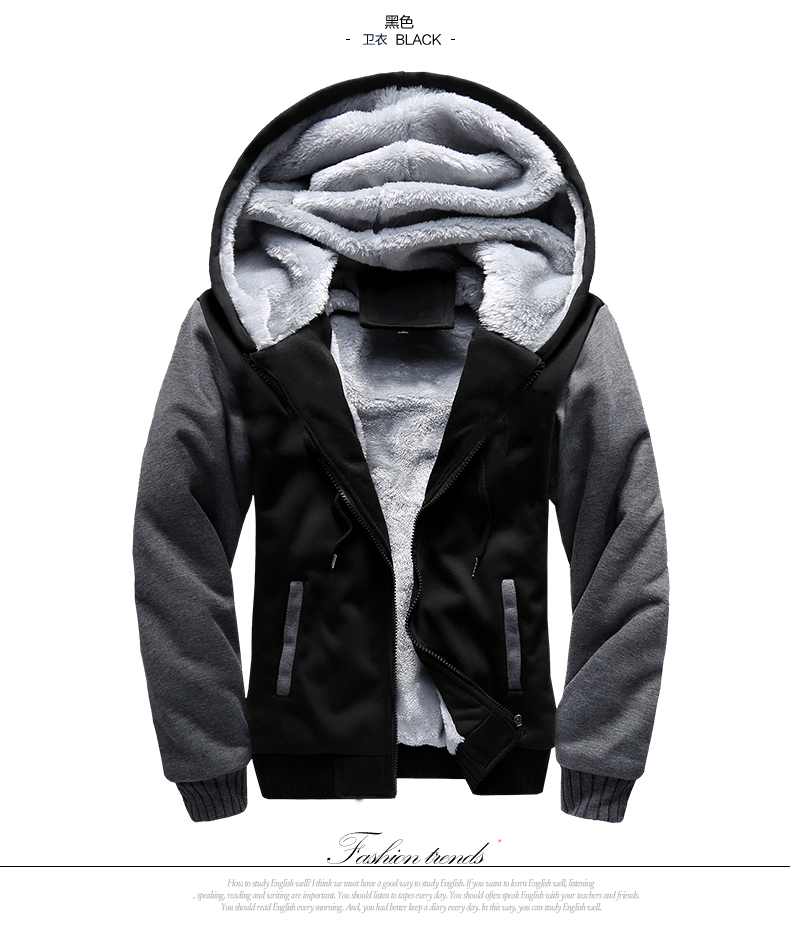 5XL Fleece Hoodies Men Winter Warm Mens Hooded Jackets Tracksuits Outwear Patchwork Sportswear Thicken Wool US Size Sweatshirts 5