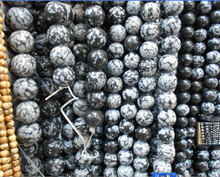 Free Shipping Snowflake Obsidian Beads Round Selectable Size 4 6 8 10mm,Natural Stone Beads For Jewelry Making Diy Bracelet