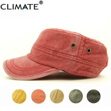 CLIMATE 2017 New Nice Women Pure Solid Color Heavy Washed Flat Top Cap Lady Red Navy Cool Adult Adjustable Army Hat