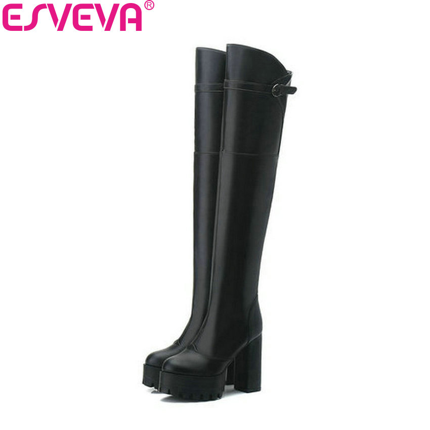 ESVEVA 2018 Women Boots Platform 3cm Buckle Short Plush Round Toe Over The Knee Boots Square High Heel Ladies Boots Size 34-43<br>