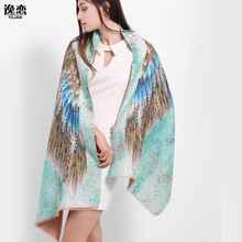 YI LIAN Brand Animal Wing Shawl Cashmere Novelty Designer Scarf For Women Top Quality Fashionable Green color LA081(China)