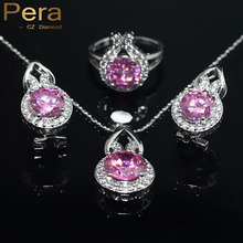 Pera Fashion Korean Ladies Style Cubic Zirconia 925 Sterling Silver Jewelry 3 Pcs Pink Black Crystal Stone Sets For Women J001(China)