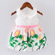 BibiCola Children Summer Dresses Baby Girls Lovely Princess Print Dress Kids Girls Cotton Clothing Flower white Bebe Clothes