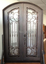 "Custom design 61.5"" x 96"" Eyebrow Arch Top Wrought Iron Entry Double Door Unit"