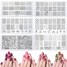 20 Style 6*12 cm Nail Art Stamper Plates Gel Polish Tips DIY Stamping Drawing 3D Image Transfer Guide Stencil Printing Templates