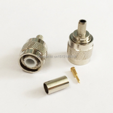 1PC TNC Male Plug RF Coax Connector Crimp RG58,RG142,RG400,LMR195 Straight Nickelplated NEW wholesale(China)