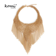 KOMi Elegant Big Tassel Choker Women Gold Color Hyperbole Alloy Maxi Necklace Ethnic Statement Necklaces Fashion Jewelry MI-072(China)