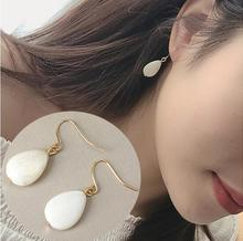 ey009 2017 small fresh white shells drop-shaped long earrings female jewelry accessories Girl the best gift(China)