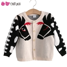 chifuna Kids Sweater Outwear Cute Horse Children's Cardigan Autumn Winter Knit Wear 2017 New Fashion Boys Girls Coat(China)