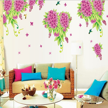 Lilac Flowers Stickers Wall Sticker Wall Art Home Decoration Accessories Bedroom Decor Wall Stickers Home Decor Living Room