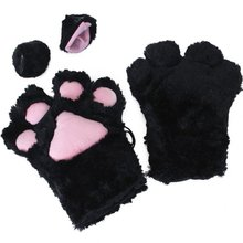 FS Hot 2 pieces Black Cat Foot Paw Plush Gloves + Cat Ears Hair Clips Hair Pins Party Cosplay