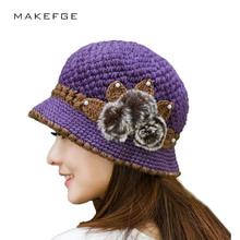 Brand Beanies Knit Women's Winter Flowers Knitted Hat Hand Crochet Beanies knitted Hat For Women Warm Beanies Female Hat(China)