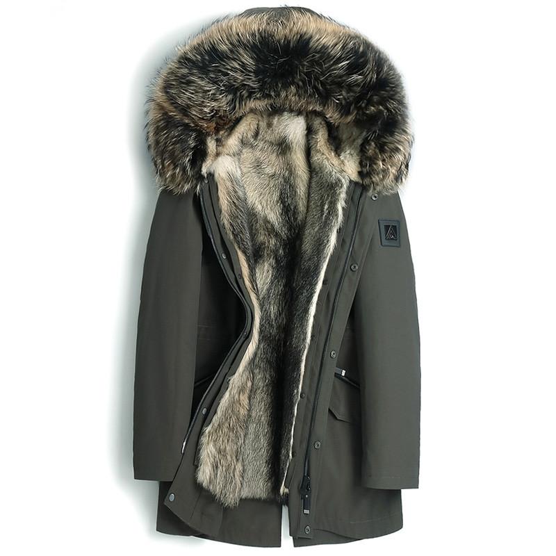 Wolf Fur Coat >> 2019 Real Fur Coat Natural Wolf Fur Liner Parka Men S Winter Jacket