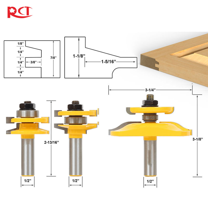 3 Bit Raised Panel Cabinet Door Router Bit Set- Bevel- 1/2 Shank<br>