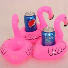 10PCS Hot Selling Mini Pink Flamingo Inflatable Drink Holders Floating Toy Pool Can Party Bath