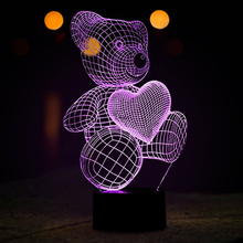 Cute Bear With Heart 3D LED Night lights colorful Table Lamps for Party Children Bedroom Lamp Baby Toys