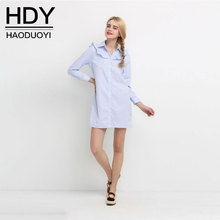 HDY Women Blouse Dress Autumn 2017 Striped Dress Long Sleeve Preppy Style Girls Dress One Piece Casual Long Blouse Vestidos XXL(China)