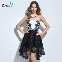 Dressv strapless A-line cocktail dress black&white beading lace high low homecoming dress short zipper up lace cocktail dress(China)