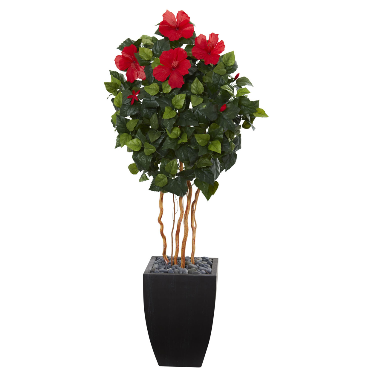 Nearly Natural 4.5\' Hibiscus Artificial Tree in Black Washed Planter