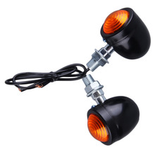 1 Pair Motorcycle Universal Black/Silver Bullet Turn Signal LED Indicator Light Blinker Lamp Red For Cruiser Chopper Cafe Racer