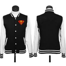 top quality superman logo coat JACKETS baseball uniform hoodie black red grey colors(China)