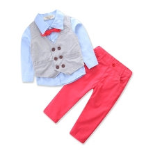 Handsome children's clothing sets gentleman Boy's 4pcs suit set Kids clothes set long-sleeve shirts+cotton vest+Trousers+bow tie