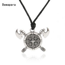 Dawapara Double Axes Shield Barbarian Viking Cross necklace Gladiator Medieval Knight Pewter Pendant Necklace Man Jewelry(China)