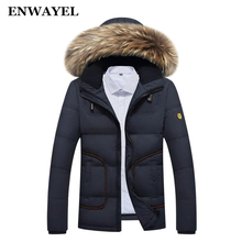 ENWAYEL Autumn Winter Male Feather Jackets Parka Hooded Duck Down Jacket Men Coat Casual Fur Collar Fashion Pocket Mens Clothing(China)