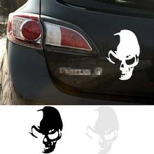 Fashion Trendy Funny Skull Car Wall Vinyl Window Body Decal Sticker Decor 14*10CM Reflective Material(China)
