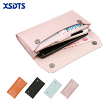 2018 Fashion Men Women Wallets Microfiber Leather Cell phone Credit Cards Wallet purse For iPhone X 8 7 6 Plus Long Design Purse(China)