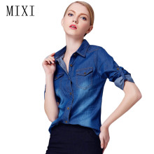 Buy MIXI Autumn Denim Shirt Women 2017 Long Sleeve Turn-Down Collar Blouse Women Jeans Female Blue Jean Shirt Fashion Female Clothes for $14.10 in AliExpress store