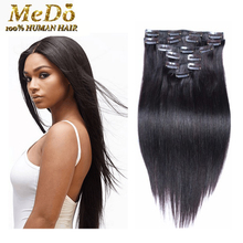 8A Clip In Human Hair Extensions Double Drawn Brazilian Light Yaki Human Hair Clip ins100% Virgin human hair can be dyed Stretch