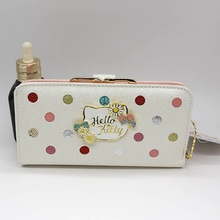 Hello Kitty Dot wallet female 2016 news High-quality bags male clutch white color cat purse women gift for girl