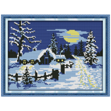 Sun Snow Counted Cross Stitch 11CT printed 14CT Cross Stitch Landscape Cross Stitch Kit Embroidery for Home Decor Needlework