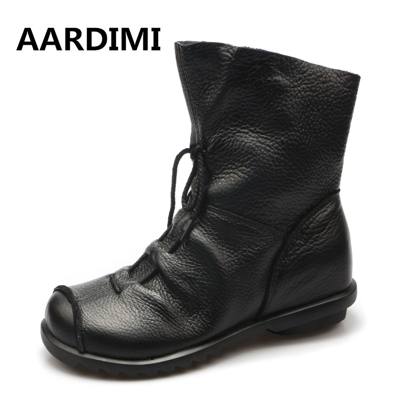 Top Quality Handmade Women Shoes Genuine Leather Women Boots Martins Spring&amp;Autumn Vintage Ankle Boots Flat Bootie Botas Mujer<br>