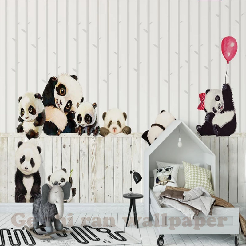 HTB1uhSBppGWBuNjy0Fbq6z4sXXay - Custom 3D Cartoon Lovely Panda Mural Wallpaper For children Room