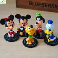 Set of 5 Mickey Minnie Mouse Goofy Pluto Donald Shook Shaking head Cartoon PVC Action Figure Collection Model Kids Toy Doll