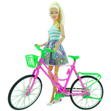 1 PC Hot Sale Leading Star Plastic Green Detachable Simulation Bicycle Toy With Basket For Barbie Doll Great Gift Toys For Kids