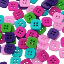 New 200PCs 11mm Square Resin Buttons Sewing Buttons Crafts DIY Scrapbooking Random Mixed