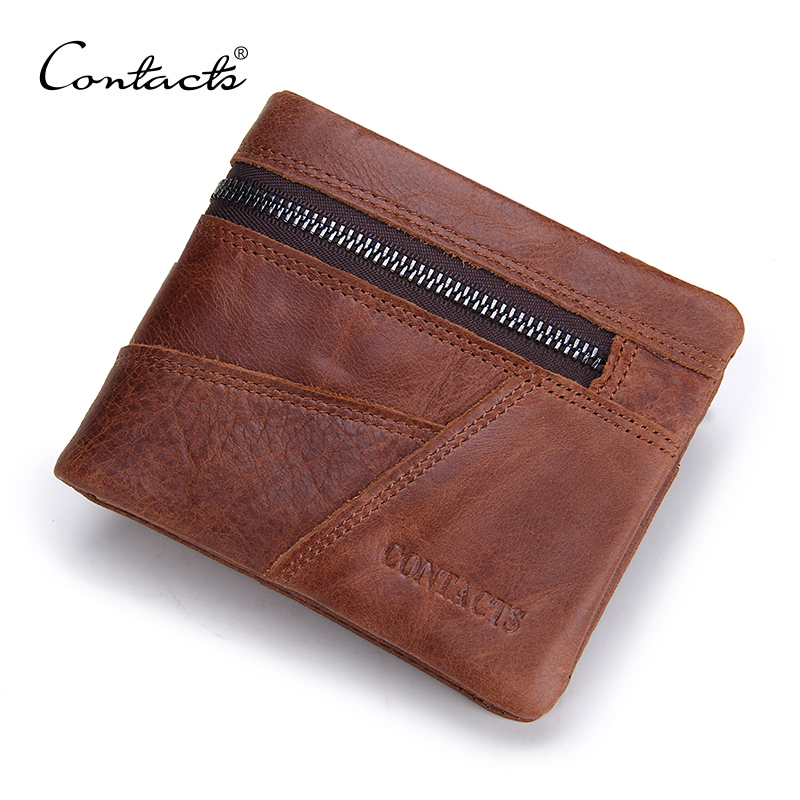CONTACTS Vintage Men Wallet Genuine Leather Patchwork Men Purse High Class Small Wallet With Deleted Coin Pocket Photo Holder<br><br>Aliexpress