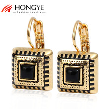 Gold Channel Earrings For Women Resin Enamel Earings Famous Brand Jewelry 3 Colors Square Brincos 2017 New Arrival Bijoux(China)