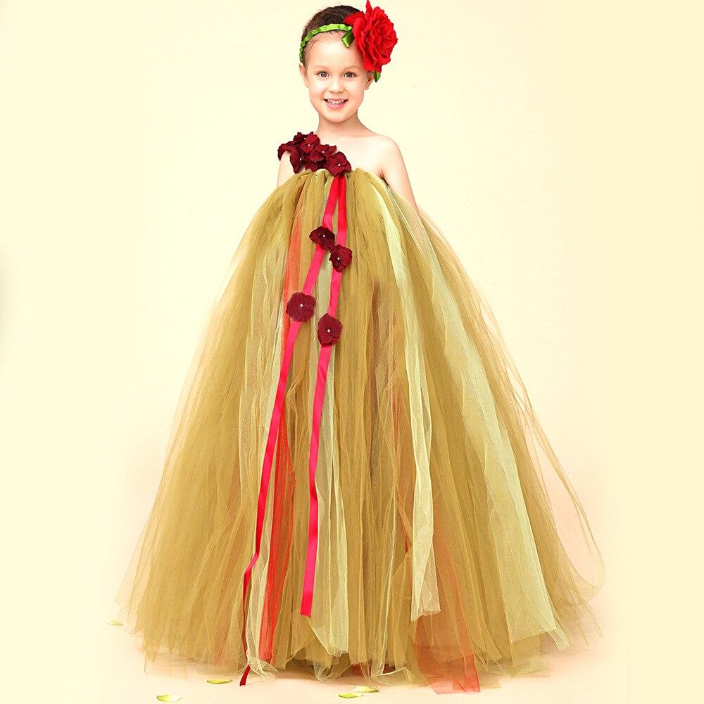 Fashion Kids Children Flower Girls Ball Gown Mesh One-Shoulder Princess Tutu Dresses Baby  Wedding Party Dress Vestidos S3539<br>