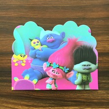 10PC/Lot trolls tangled elves theme Invitation Card for Children Birthday party decoration party Card