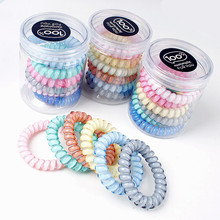 6pcs/bareel hair gums Fashion colors traceless hair ring high quality telephone line sprial hairbands in girls Hair Accessories(China)