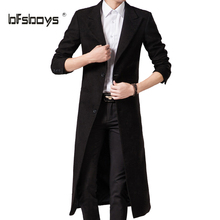 Spring Autumn Winter Men's Fashion Casual Single Breasted Long Trench Coat Jacket Pea Coat Overcoat British Style